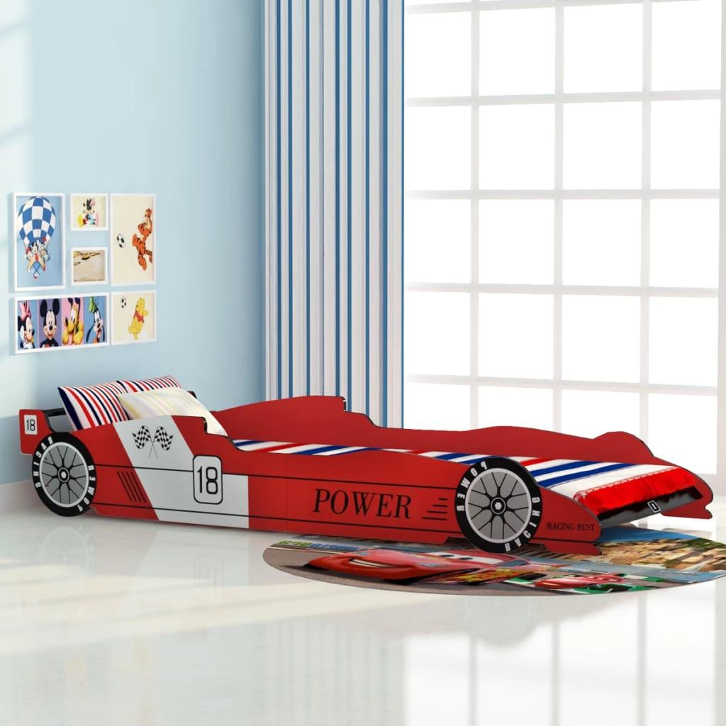 vidaXL Pat pentru copii în formă de mașină de curse 90x200 cm, Roșu imagine vidaxl.ro