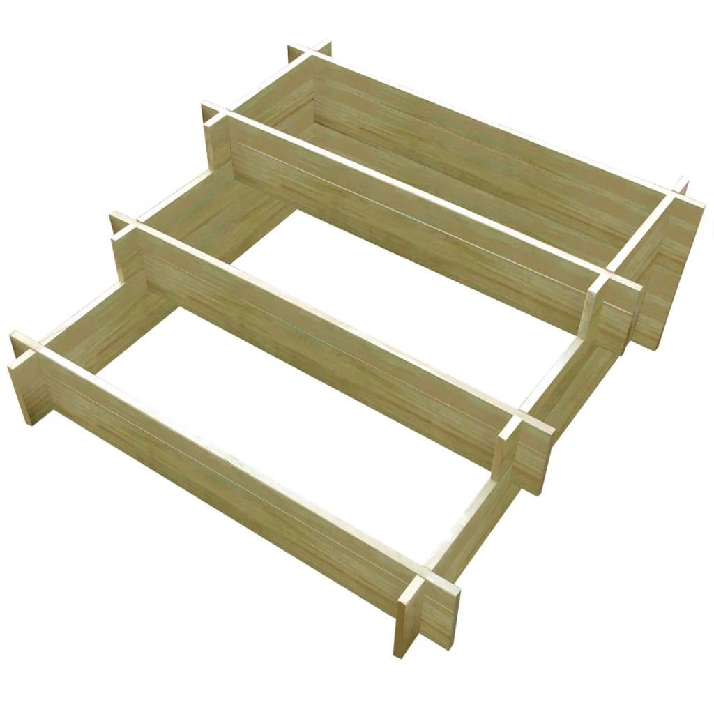 3stupňový truhlík 90 x 90 x 35 cm impregnované dřevo