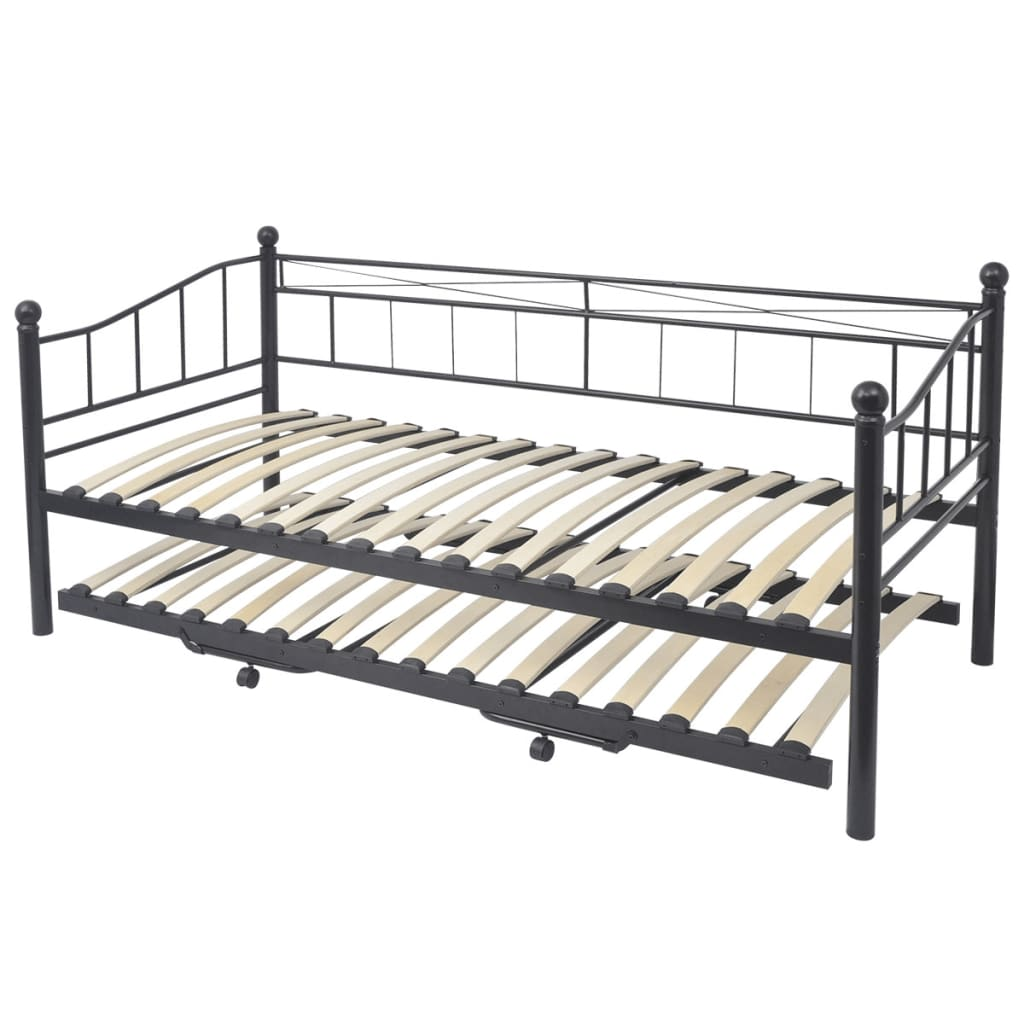 modern single double bed metal bed frame day bed guest bed trundle set black 8718475964865 ebay. Black Bedroom Furniture Sets. Home Design Ideas