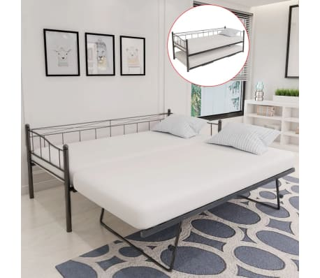 acheter vidaxl cadre de lit 180 x 200 90 x 200 cm acier noir pas cher. Black Bedroom Furniture Sets. Home Design Ideas
