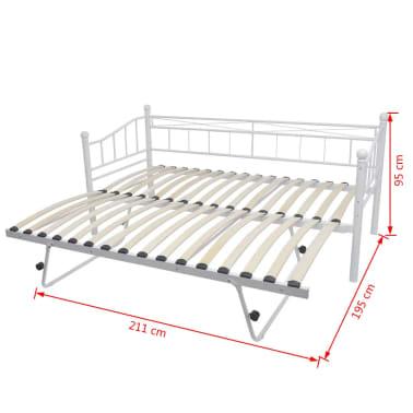 acheter vidaxl cadre de lit 180 x 200 90 x 200 cm acier blanc pas cher. Black Bedroom Furniture Sets. Home Design Ideas