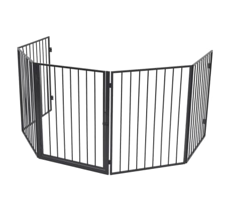 vidaXL Pet Fireplace Fence Steel Black[2/6]