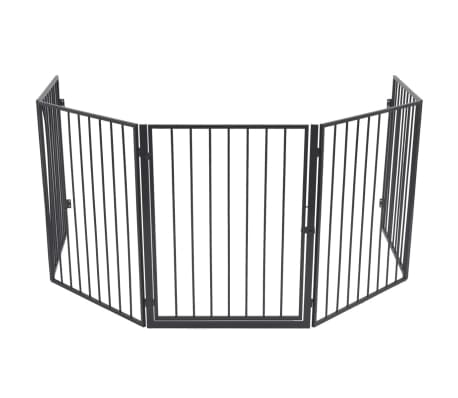 vidaXL Pet Fireplace Fence Steel Black[3/6]