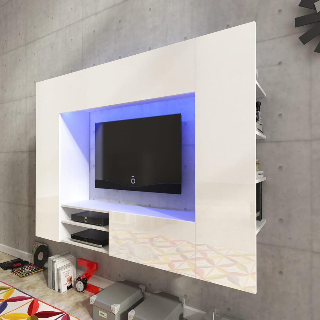 Vitrină lucioasă cu unitate TV și iluminare LED, 169,2 cm, Albă vidaxl.ro