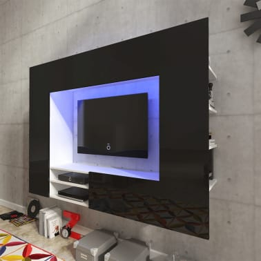acheter unit murale de 169 2 cm en noir brillant pour tv led pas cher. Black Bedroom Furniture Sets. Home Design Ideas