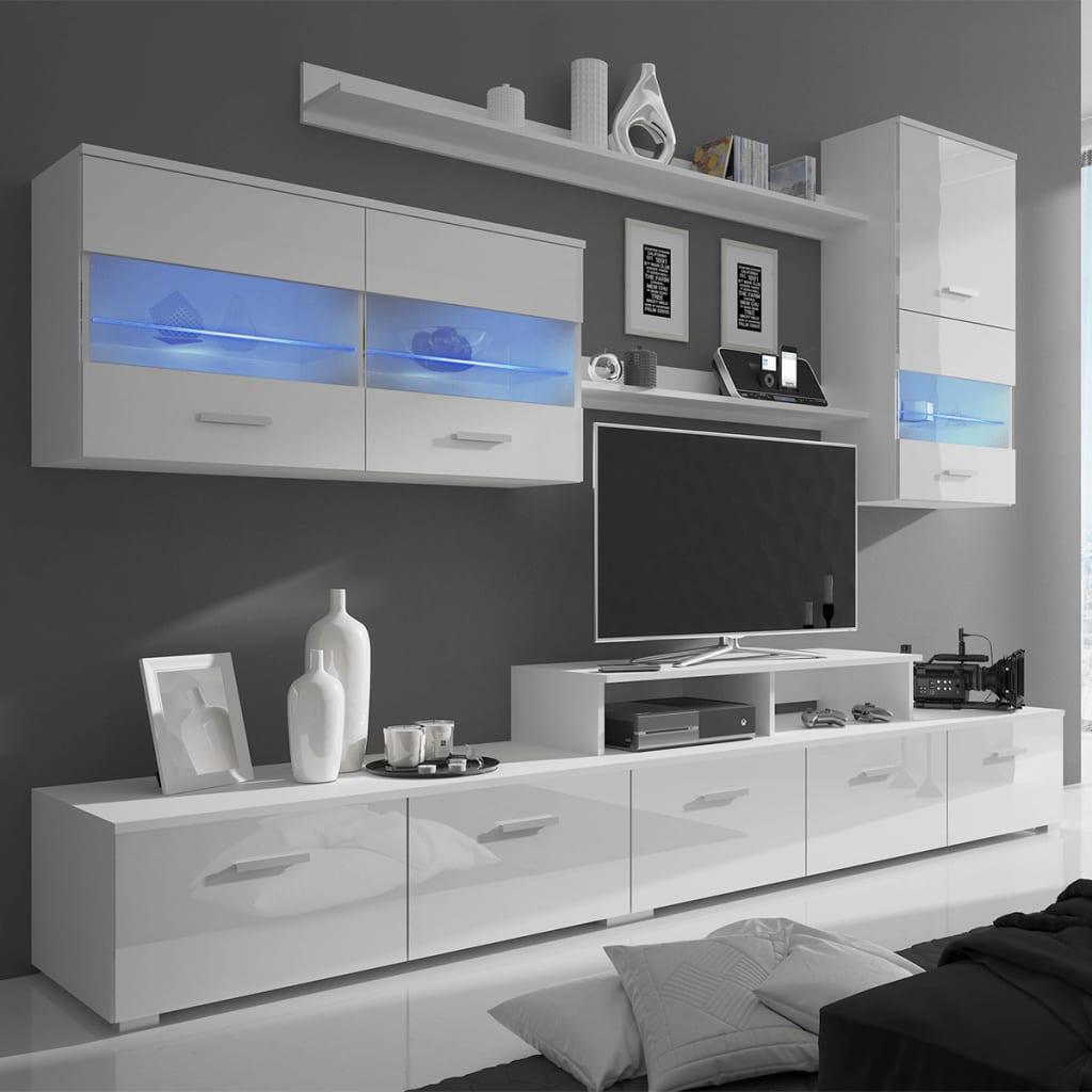 Vitrină lucioasă cu unitate TV și iluminare LED, 7 buc, 250cm, alb vidaxl.ro