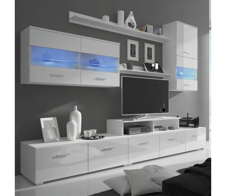 acheter 7 pi ces de meuble murale en blanc brillant avec led pour tv 250 cm pas cher. Black Bedroom Furniture Sets. Home Design Ideas