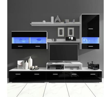 7 tlg hochglanz wohnwand led schrankwand tv schrank schwarz 250 cm zum schn ppchenpreis. Black Bedroom Furniture Sets. Home Design Ideas