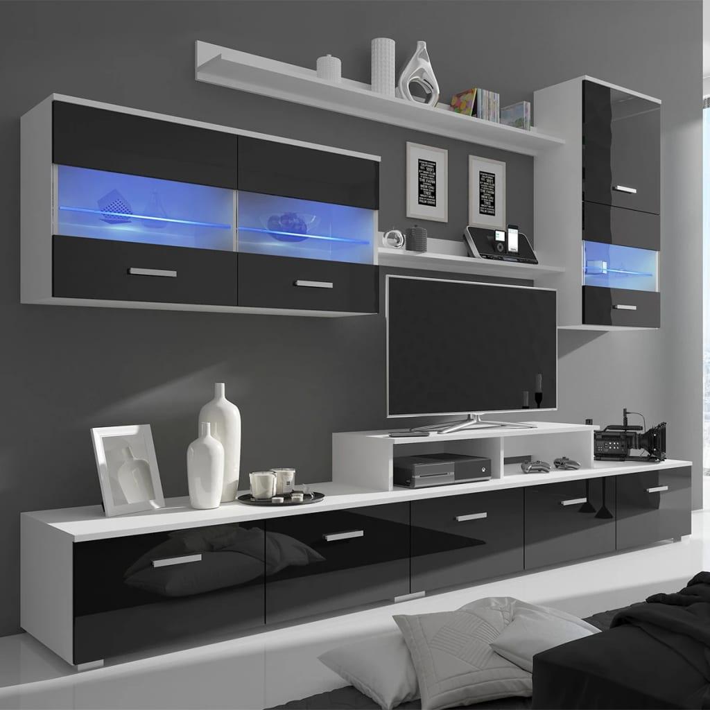 Vitrină lucioasă cu unitate TV și iluminare LED, 7 buc, 250 cm, negru poza 2021 vidaXL
