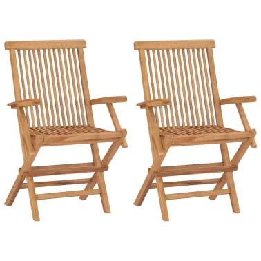 vidaXL Folding Garden Chairs 2 pcs Solid Teak Wood[1/5]