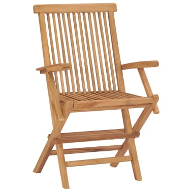 vidaXL Folding Garden Chairs 2 pcs Solid Teak Wood[2/5]