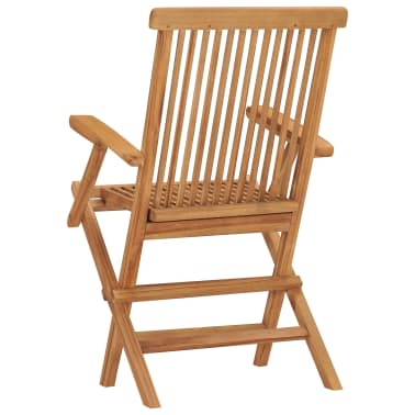 vidaXL Folding Garden Chairs 2 pcs Solid Teak Wood[5/5]