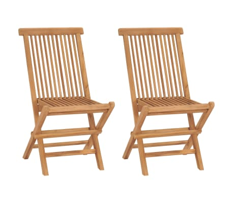 vidaXL Folding Garden Chairs 2 pcs Solid Teak Wood[1/8]
