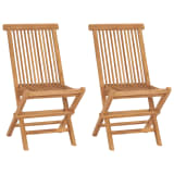 vidaXL Folding Garden Chairs 2 pcs Solid Teak Wood