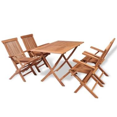 vidaXL Juego de comedor de jardín 5 piezas de madera de teca   vidaXL.es