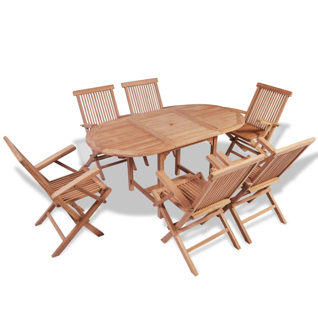 vidaXL Seven Piece Teak Outdoor Dining Set with Extendable Table