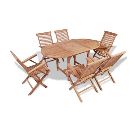 vidaXL B-ware 7 Piece Outdoor Dining Set Solid Teak
