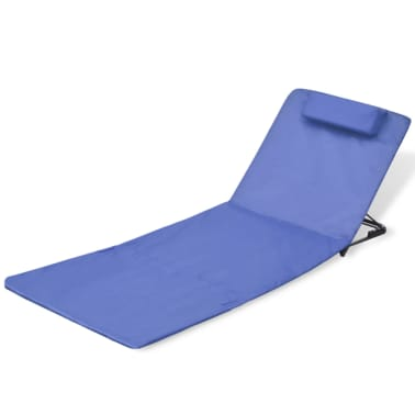 vidaXL Folding Beach Mat with Backrest 2 pcs Blue[2/7]