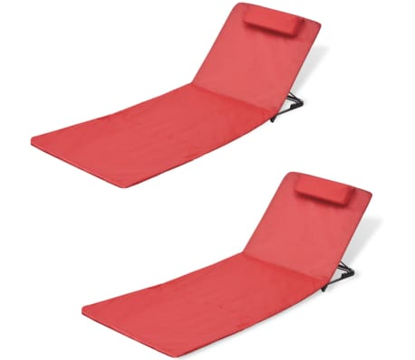 vidaXL Folding Beach Mat with Backrest 2 pcs Red[1/7]