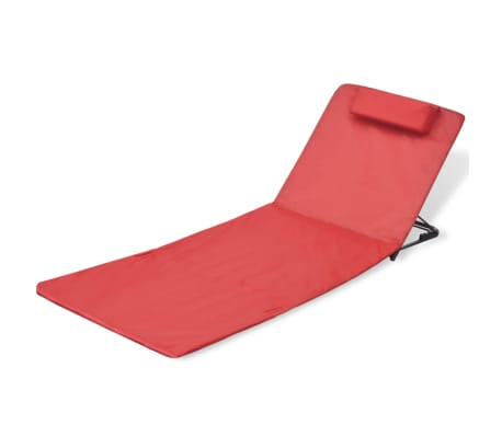 vidaXL Folding Beach Mat with Backrest 2 pcs Red[2/7]