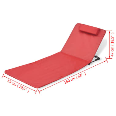 vidaXL Folding Beach Mat with Backrest 2 pcs Red[7/7]