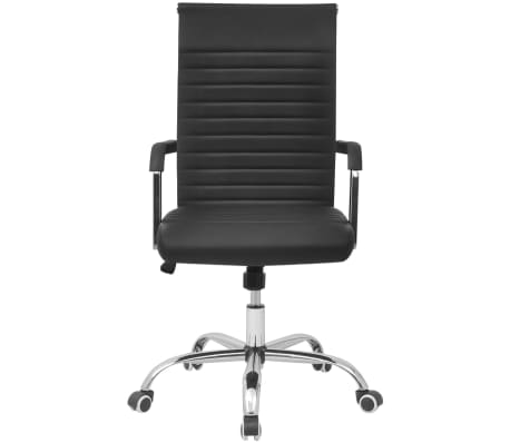 vidaXL silla de oficina de cuero artificial 55x63 cm color negro[2/6]
