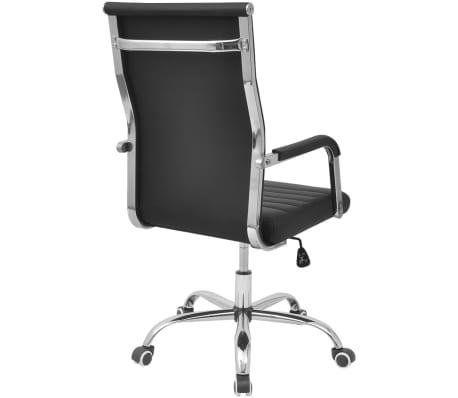 vidaXL silla de oficina de cuero artificial 55x63 cm color negro[4/6]