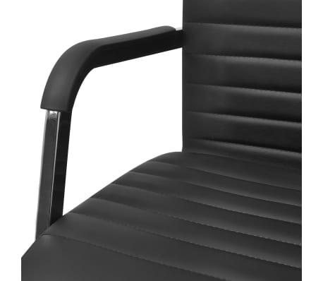 vidaXL silla de oficina de cuero artificial 55x63 cm color negro[5/6]