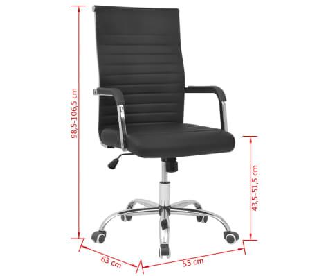 vidaXL silla de oficina de cuero artificial 55x63 cm color negro[6/6]