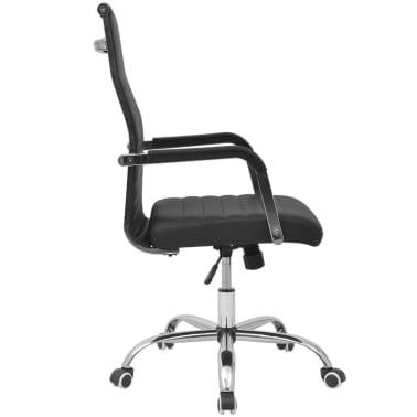 vidaXL silla de oficina de cuero artificial 55x63 cm color negro[3/6]