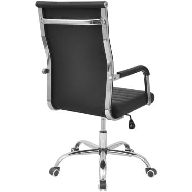 vidalXL Καρέκλα Γραφείου Μαύρη 55 x 63 εκ. από Συνθετικό Δέρμα[4/6]