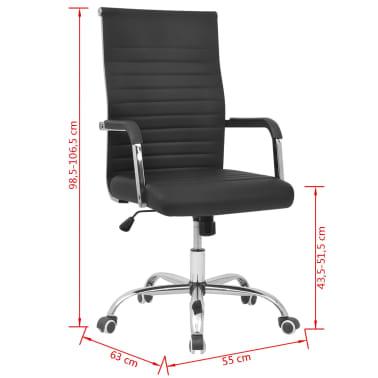 vidalXL Καρέκλα Γραφείου Μαύρη 55 x 63 εκ. από Συνθετικό Δέρμα[6/6]