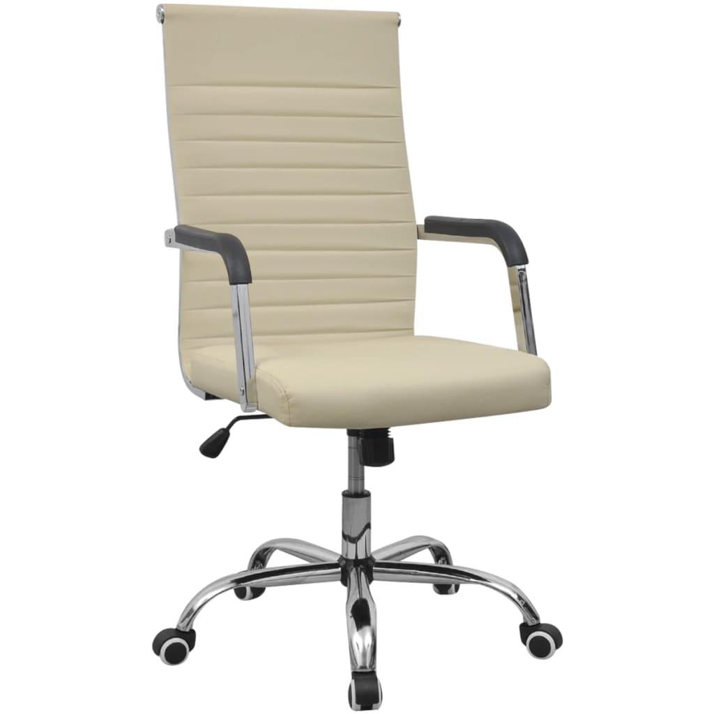vidaXL Kancelářská židle umělá kůže 55 x 63 cm krémová