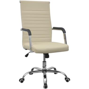 vidaXL chaise de bureau en cuir artificiel 55x63 cm crème[1/6]