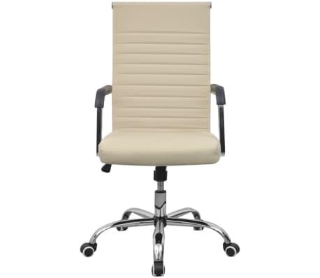 vidaXL chaise de bureau en cuir artificiel 55x63 cm crème[2/6]