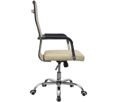 vidaXL chaise de bureau en cuir artificiel 55x63 cm crème[3/6]