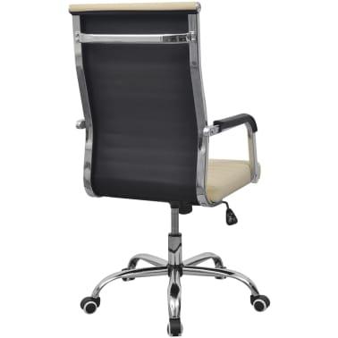 vidaXL chaise de bureau en cuir artificiel 55x63 cm crème[4/6]