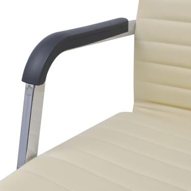 vidaXL chaise de bureau en cuir artificiel 55x63 cm crème[5/6]