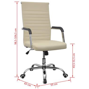 vidaXL chaise de bureau en cuir artificiel 55x63 cm crème[6/6]