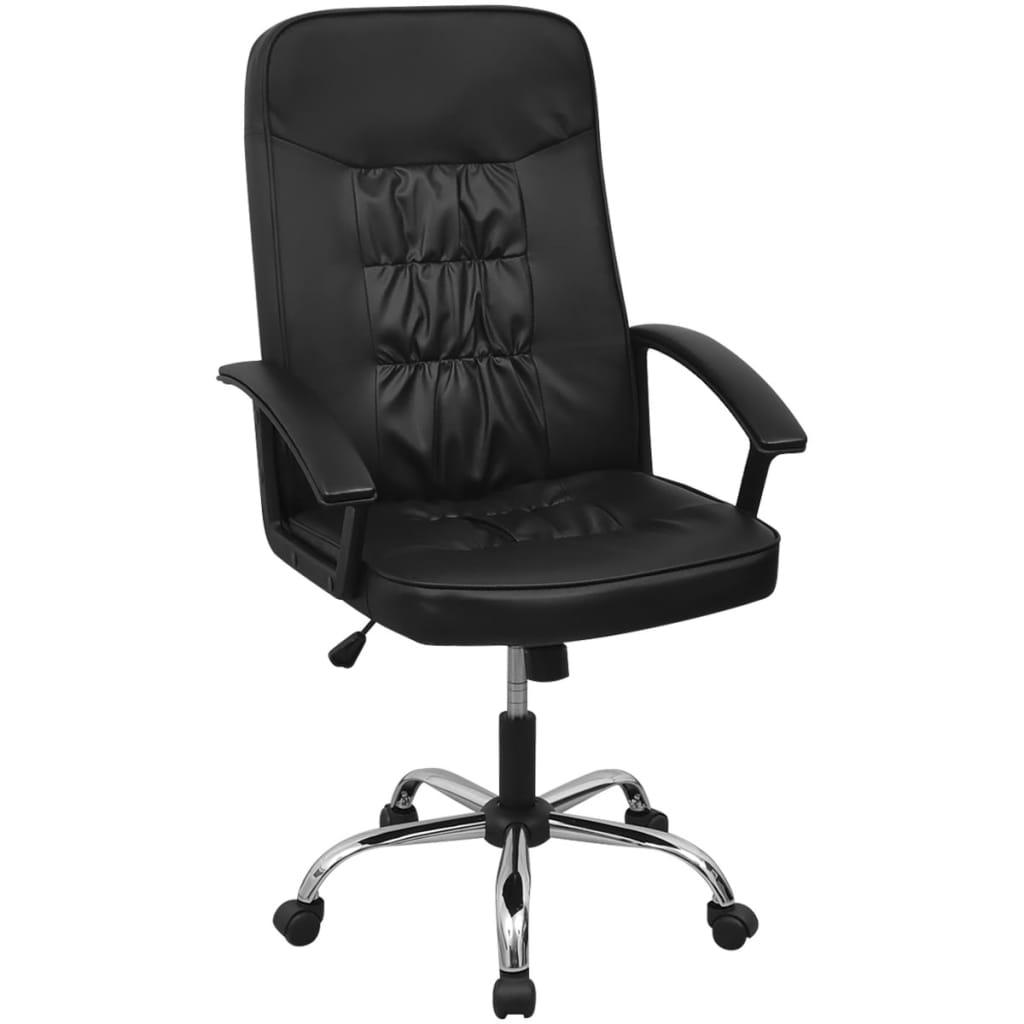 vidaXL chaise de bureau en cuir artificiel 67x70 cm noir