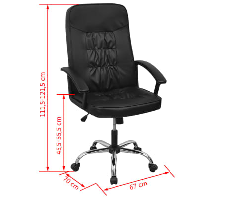 Čierne kancelárske kreslo z umelej kože vidaXL 67 x 70 cm[6/6]