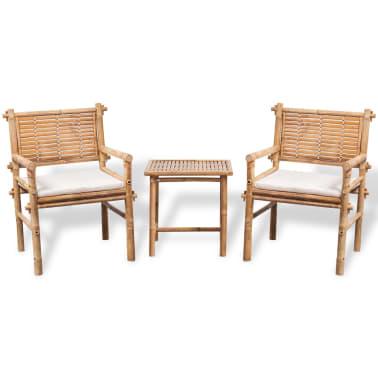 vidaXL 3-daļīgs bistro mēbeļu komplekts ar matračiem, bambuss[1/9]