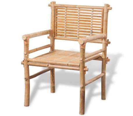vidaXL 3-daļīgs bistro mēbeļu komplekts ar matračiem, bambuss[7/9]