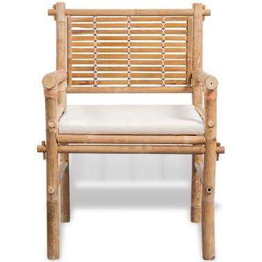 vidaXL 3-daļīgs bistro mēbeļu komplekts ar matračiem, bambuss[4/9]