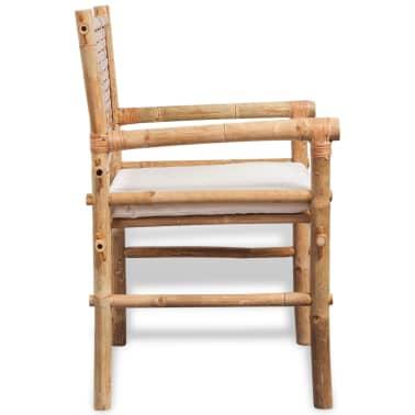 vidaXL 3-daļīgs bistro mēbeļu komplekts ar matračiem, bambuss[5/9]