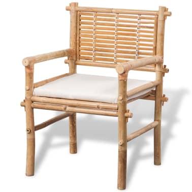 vidaXL 3-daļīgs bistro mēbeļu komplekts ar matračiem, bambuss[6/9]