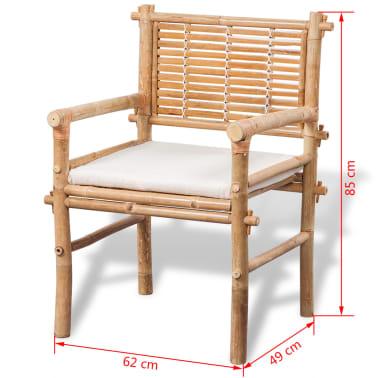 vidaXL 3-daļīgs bistro mēbeļu komplekts ar matračiem, bambuss[8/9]