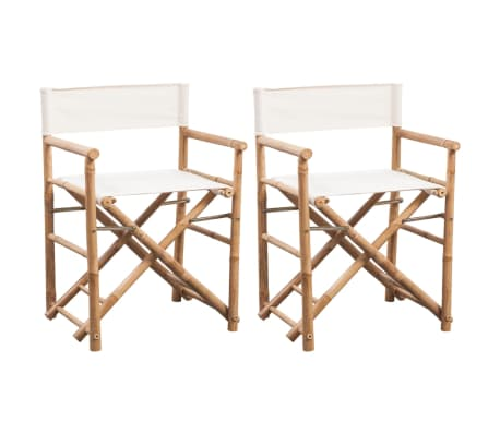 vidaXL Folding Director's Chair 2 pcs Bamboo and Canvas[1/6]