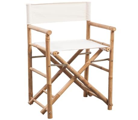 vidaXL Folding Director's Chair 2 pcs Bamboo and Canvas[2/6]