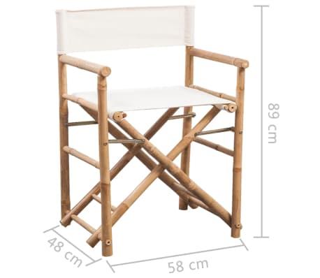vidaXL Folding Director's Chair 2 pcs Bamboo and Canvas[6/6]